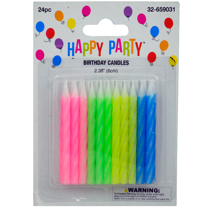 Spiral Candles Assorted 24 Pack