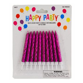 Birthday Candles Glitter Assorted Colors 10ct